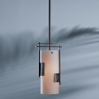 Fullered Impress 1-Light Pendant Glass: Opal, Finish: Translucent Bronze