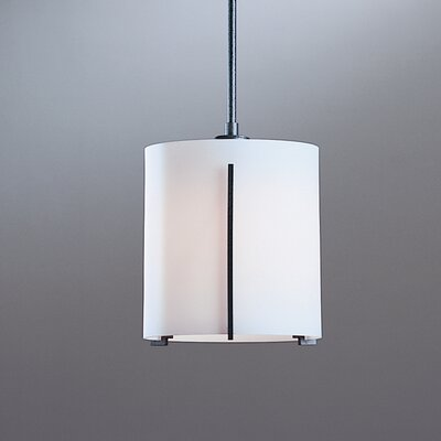 Exos 1-Light Drum Pendant Finish: Translucent Burnished Steel, Glass: Opal