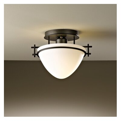Moonband Small 1-Light Semi Flush Mount Finish: Natural lron, Shade Color: Opal