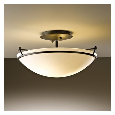 2-Light Semi Flush Mount Finish: Natural lron, Shade Color: Opal, Bulb Type: (2) 100W fluorescent bulbs