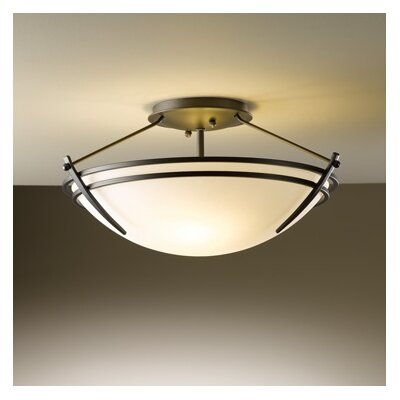Presidio Small 2-Light Semi Flush Mount Finish: Natural lron, Shade Color: Opal, Bulb Type: (2) 100W A-19 medium base bulbs