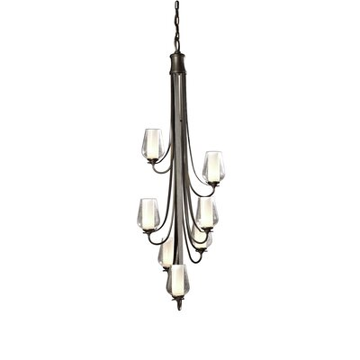 Flora 7-Light Candle-Style Chandelier Finish: Bronze, Glass Type: Seeded Clear Glass