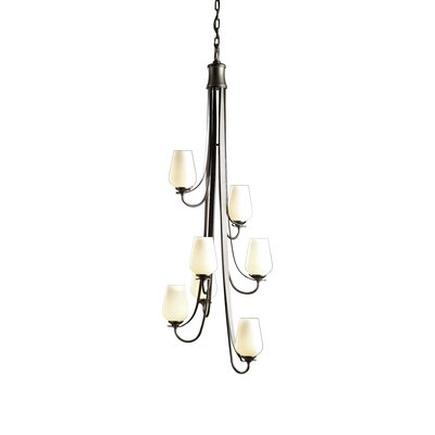Flora 7-Light Shaded Chandelier Glass Type: Pearl Glass, Finish: Bronze