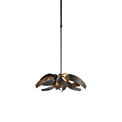 Corona 4-Light Pendant Stem Length: 43.7 - 51.1, Finish: Burnished Steel