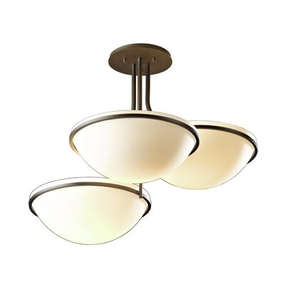Moonband 3-Light Semi-Flush Mount Glass Type: Pearl Glass, Finish: Bronze