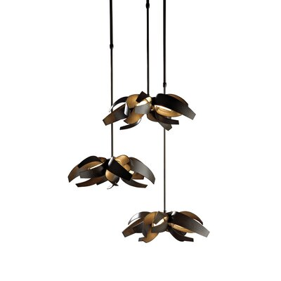 Corona 12-Light Cascade Pendant Finish: Black