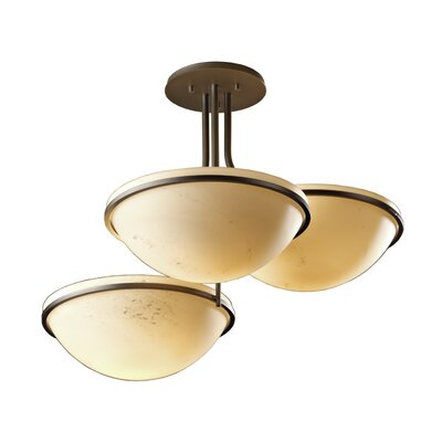 Moonband 3-Light Semi Flush Mount Finish: Dark Smoke, Glass Type: Stone Glass