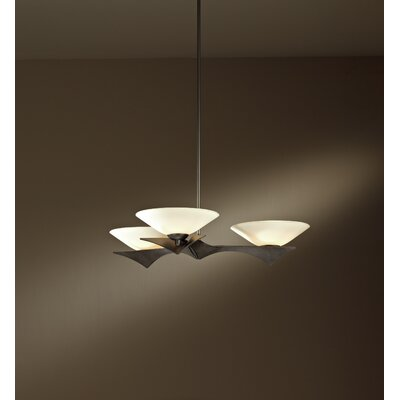 Moreau 3-Light Pendant Finish: Mahogany, Glass Type: Sand Glass, Stem Length: 23.7 - 38.4