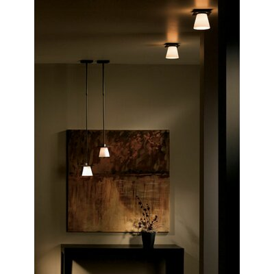 Wren 1-Light Semi Flush Mount Finish: Dark Smoke, Shade Color: Opal, Bulb Type: (1) 60W G-9 halogen bulb
