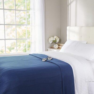 Quilted Fleece Heated Blanket Color: Navy, Size: Queen