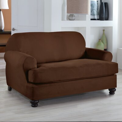 Tailor Fit Loveseat T Cushion Slipcover Upholstery: Cocoa