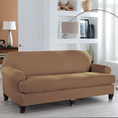 Tailor Fit 2 Piece T Cushion Sofa Slipcover Upholstery: Camel