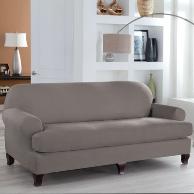 T-Cushion Sofa Slipcover Upholstery: Grey