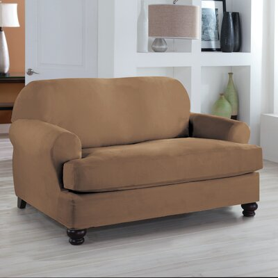 Loveseat T-Cushion Slipcover Upholstery: Camel