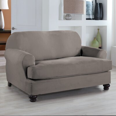 Loveseat T-Cushion Slipcover Upholstery: Grey
