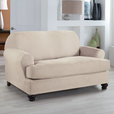Loveseat T-Cushion Slipcover Upholstery: Ivory