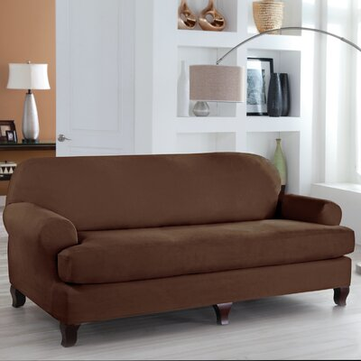 Tailor Fit 2 Piece T Cushion Sofa Slipcover Upholstery: Cocoa