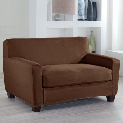 Box Cushion Loveseat Slipcover Upholstery: Cocoa