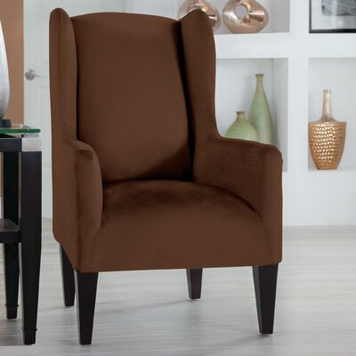Tailor Fit Box Cushion Wingback Slipcover Upholstery: Cocoa