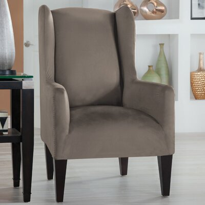 Tailor Fit Wingback Chair Slipcover Upholstery: Grey
