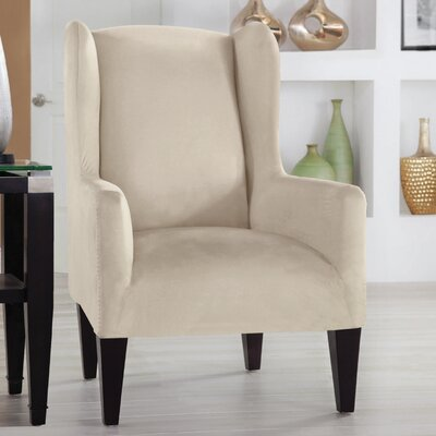 Tailor Fit Wingback Chair Slipcover Upholstery: Ivory
