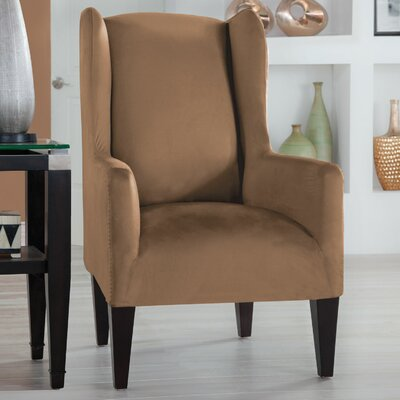 Tailor Fit Box Cushion Wingback Slipcover Upholstery: Camel