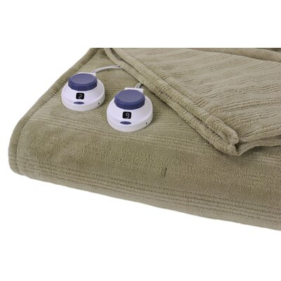 Soft Heat Triple Rib Electric Heated Warming Blanket Size: Queen, Color: Sage Green