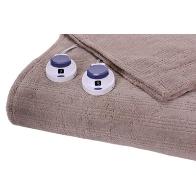 Soft Heat Triple Rib Electric Heated Warming Blanket Size: King, Color: Beige