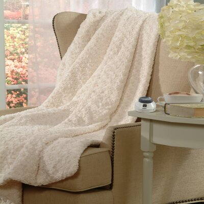 Oversized Soft Swirl Electric Heated Warming Throw in Natural