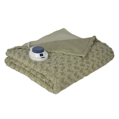 Oversized Soft Swirl Electric Heated Warming Throw in Sage Green