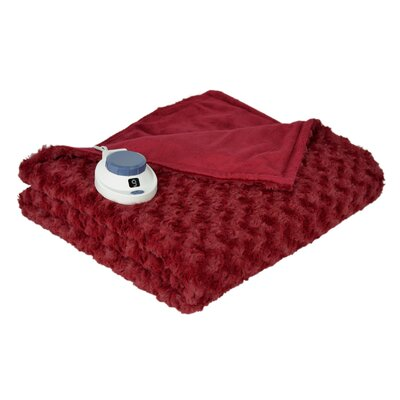 Oversized Soft Swirl Electric Heated Warming Throw in Garnet Red