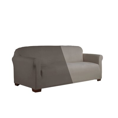 Reversible Stretch Box Cushion 2 Piece Slipcover Set Upholstery: Graphite