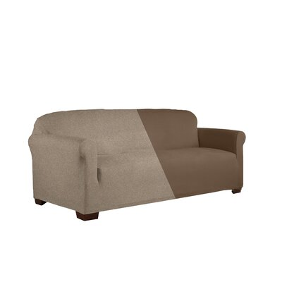 Reversible Stretch Box Cushion 2 Piece Slipcover Set Upholstery: Chocolate
