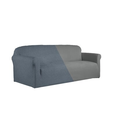 Reversible Stretch Box Cushion 2 Piece Slipcover Set Upholstery: Gray