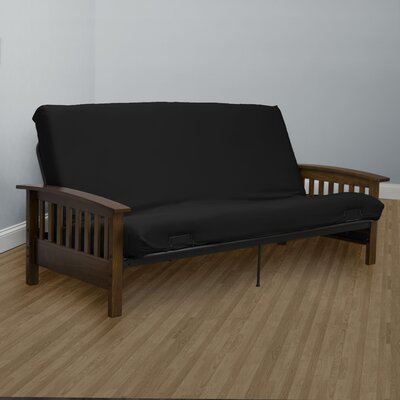 Encasement Box Cushion Futon Slipcover Upholstery: Black
