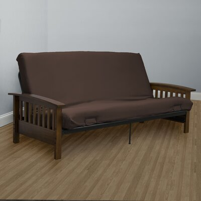 Encasement Box Cushion Futon Slipcover Upholstery: Chocolate