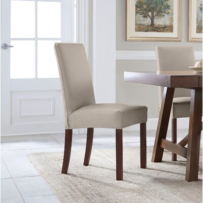 Reversible Stretch Solid Dining Chair Slipcover Upholstery: Brown