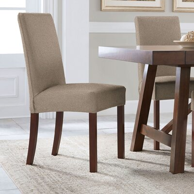 Reversible Stretch Solid Dining Chair Slipcover Upholstery: Chocolate