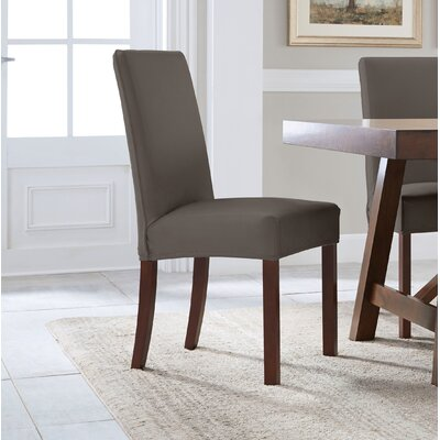 Reversible Stretch Solid Dining Chair Slipcover Upholstery: Graphite