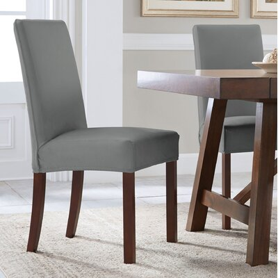 Reversible Stretch Solid Dining Chair Slipcover Upholstery: Gray