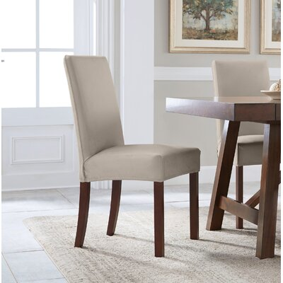 Reversible Stretch Dining Chair Slipcover Upholstery: Brown