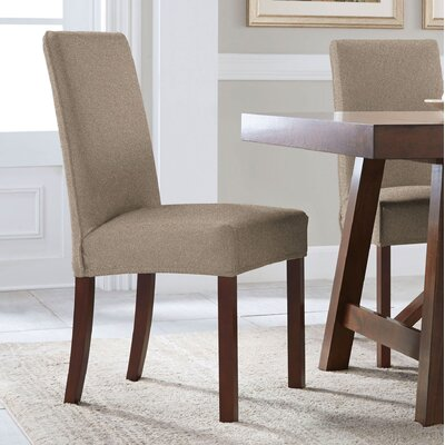 Reversible Stretch Dining Chair Slipcover Upholstery: Chocolate