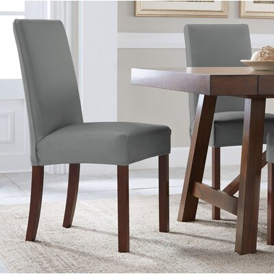 Reversible Stretch Dining Chair Slipcover Upholstery: Gray