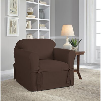 Relaxed Fit Duck Furniture Box Cushion 3 Piece Slipcover Set Upholstery: Chocolate