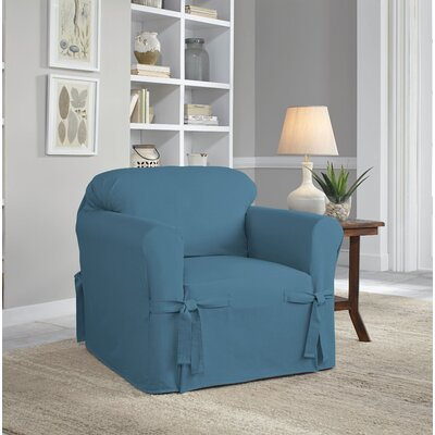 Relaxed Fit Duck Furniture Box Cushion 3 Piece Slipcover Set Upholstery: Indigo