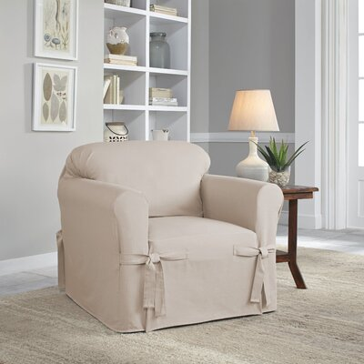 Relaxed Fit Duck Furniture Box Cushion 3 Piece Slipcover Set Upholstery: Khaki