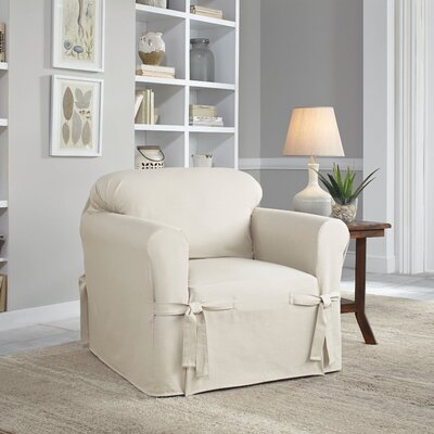 Relaxed Fit Duck Furniture Box Cushion 3 Piece Slipcover Set Upholstery: Natural