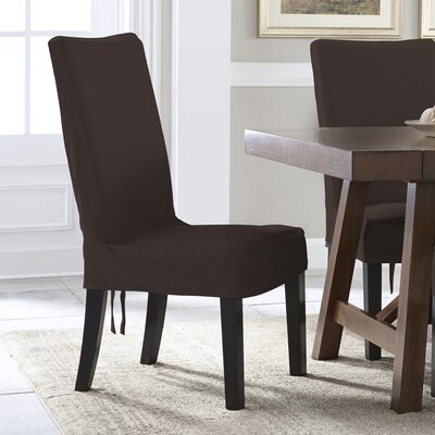 Relaxed Smooth Furniture Solid Dining Chair Slipcover Upholstery: Chocolate