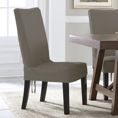 Relaxed Smooth Furniture Solid Dining Chair Slipcover Upholstery: Gray