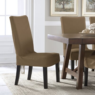 Relaxed Smooth Furniture Solid Dining Chair Slipcover Upholstery: Taupe